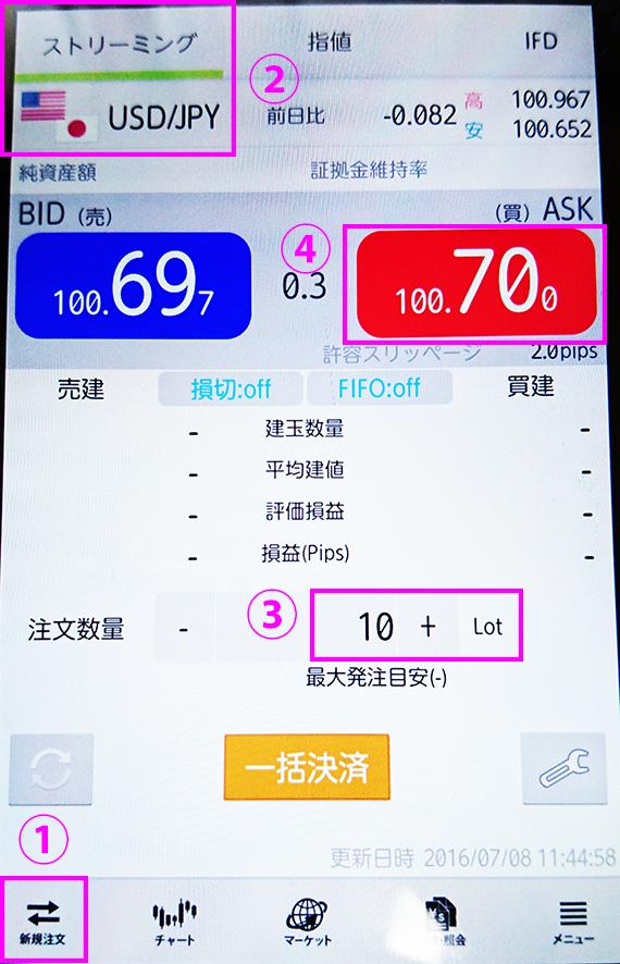 dmmfxドル円取引画面